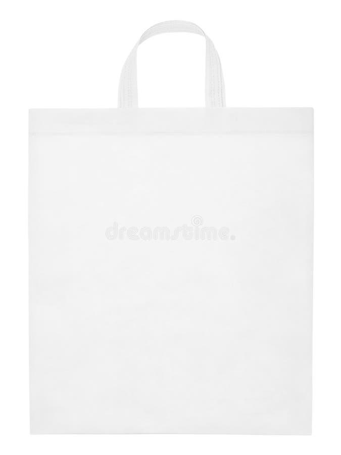 La bolsa de asas blanca aislada en blanco foto de archivo