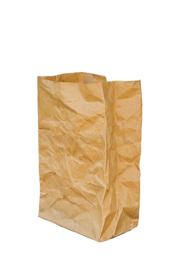 La bolsa de papel marrón desgreñada se abrió, aislado en un fondo blanco fotos de archivo libres de regalías