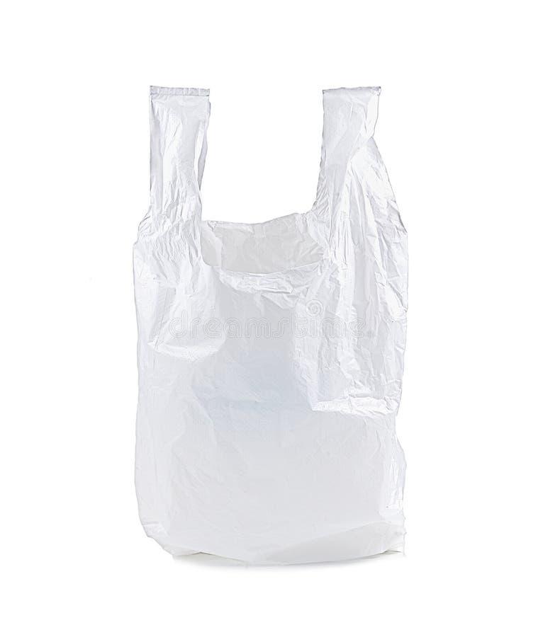 La bolsa de plástico blanca aislada en el fondo blanco fotos de archivo libres de regalías
