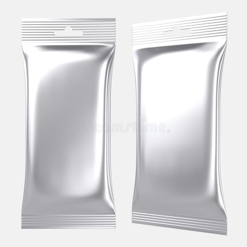 La bolsa de plástico en blanco de la plata de la bolsa de la hoja libre illustration
