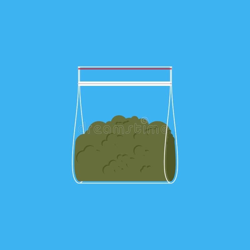 La bolsa de plástico de la marijuana Drogas en bolsita Illustr del vector ilustración del vector