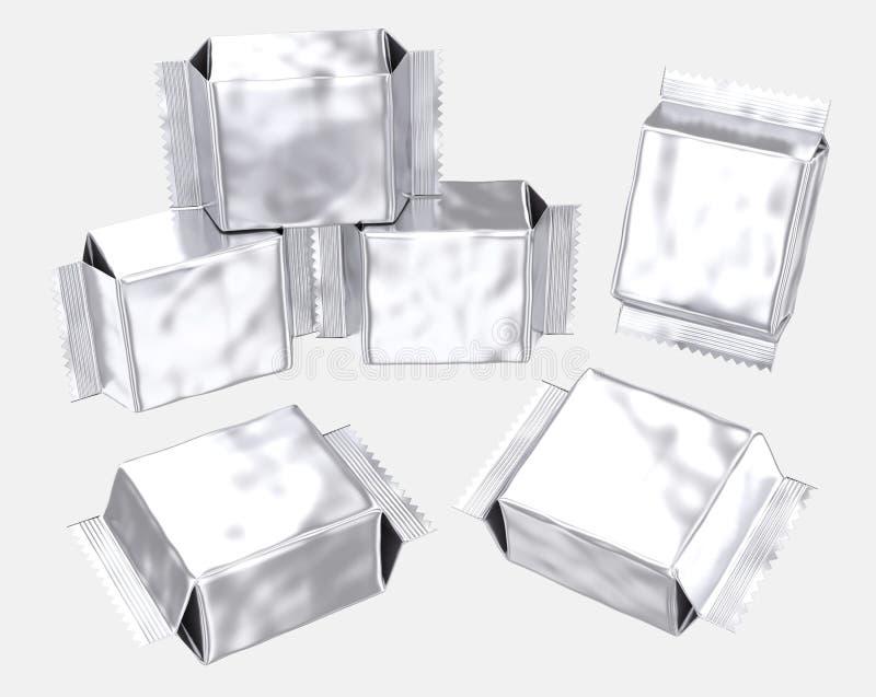 La bolsa de plástico reforzada de la hoja de la plata en blanco de la bolsa libre illustration