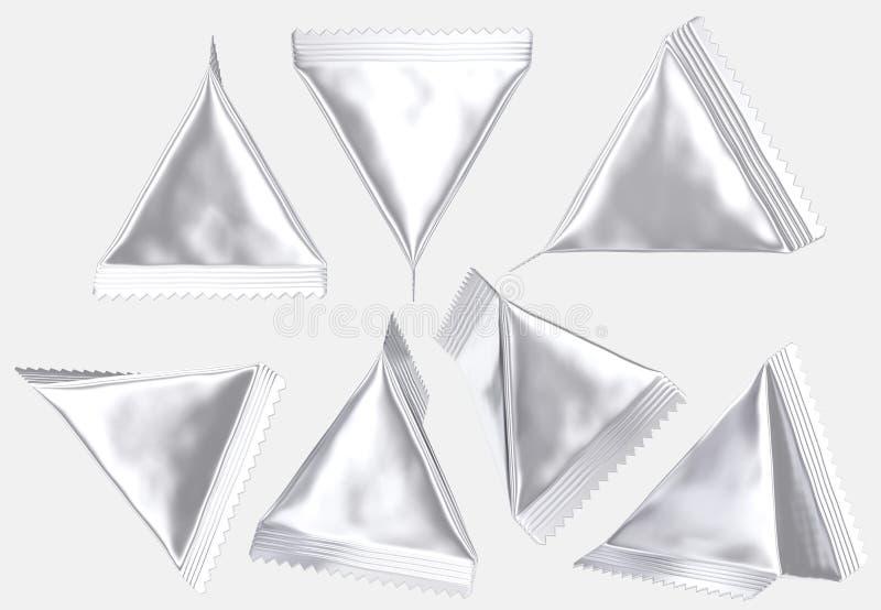 La bolsa de plástico tetraédrica en blanco de la hoja de plata ilustración del vector