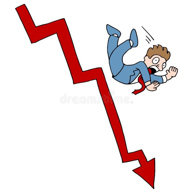 La bolsa que cae stock de ilustración