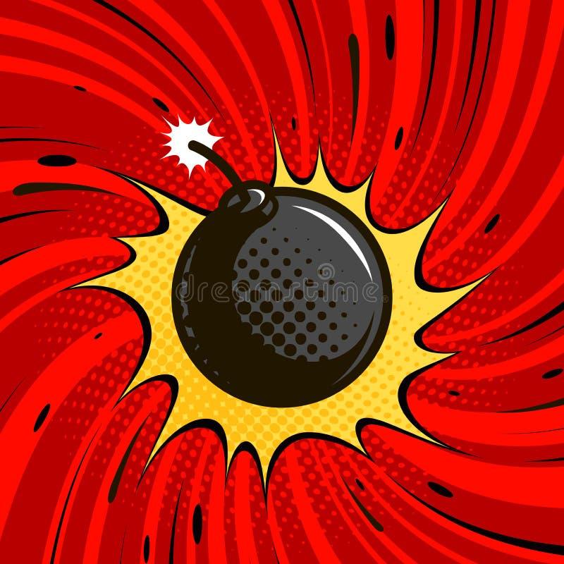 La bomba comica esplode Dinamite, palla di cannone rotonda con fuoco Illustrazione di vettore del fumetto illustrazione vettoriale