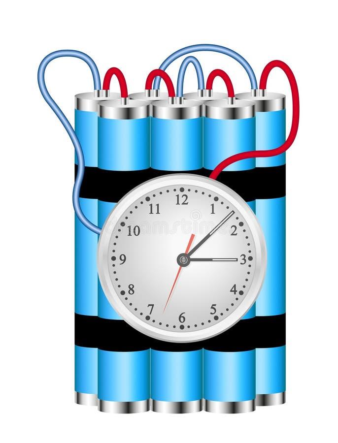 La bomba de relojería conectada con el reloj estalla stock de ilustración