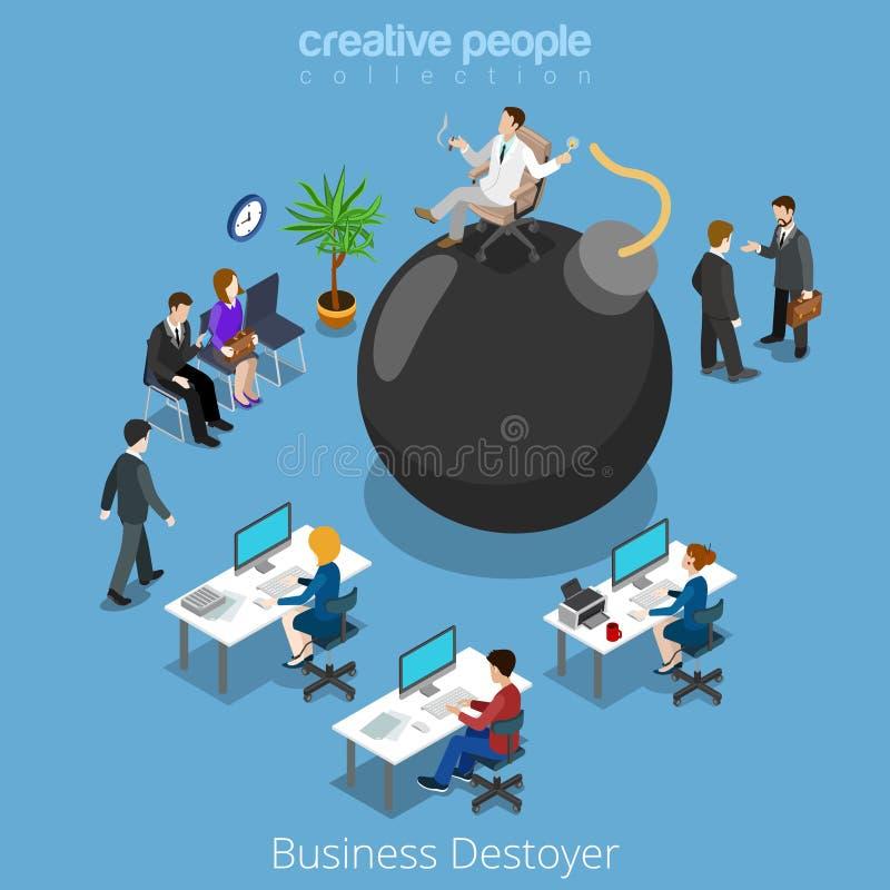 La bomba isométrica del negocio destruye el isomet plano 3d del hombre libre illustration