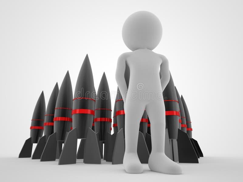 La bombe nucléaire ou beaucoup montent en flèche le groupe avec une illustration de rendu du concept 3d de guerre d'homme photographie stock