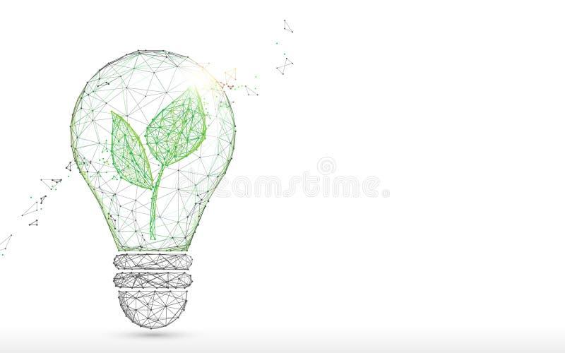 La bombilla con las líneas de la forma de la planta verde, los triángulos y el estilo de la partícula diseñan ilustración del vector