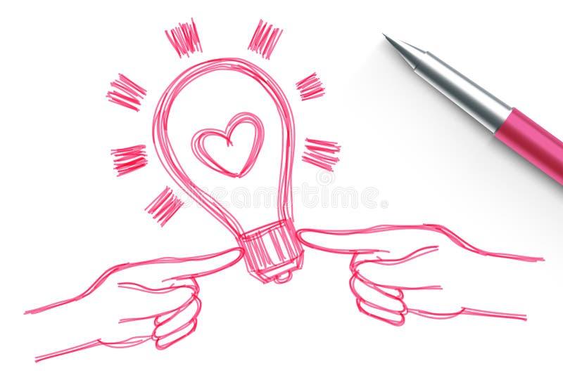 La bombilla del corazón con los pares da el dibujo de la mano del símbolo por el color del rosa del bosquejo de la pluma, diseño  stock de ilustración