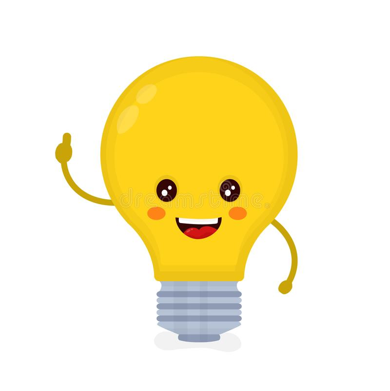 La bombilla feliz sonriente linda tiene idea libre illustration