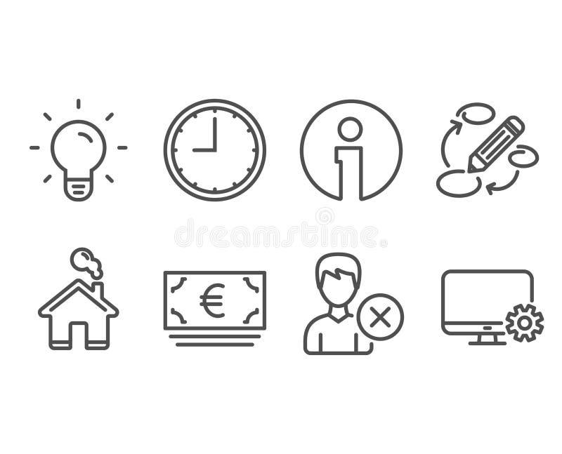 La bombilla, la moneda euro y quitan iconos de la cuenta Muestras de las palabras claves, del tiempo y de la configuración de la  ilustración del vector