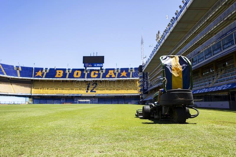 La Bombonera stadium of Boca Juniors in Argentina. Lawnmower from La bombonera stadium in Buenos aires, Argentina. It is Boca Juniors owned stadium and was built stock images