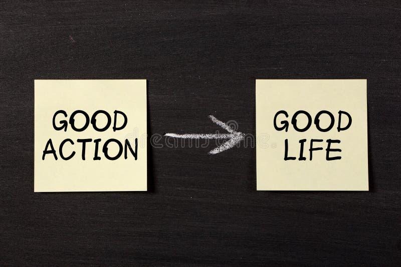 La bonne action résulte bonne vie photos stock