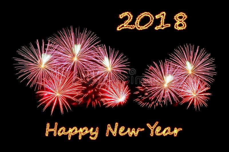 La bonne année 2018 des textes du feu et feux d'artifice images libres de droits