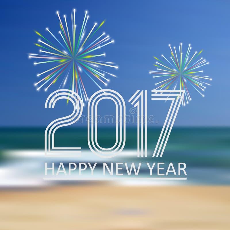 La bonne année 2017 sur la plage bleue aiment le fond abstrait de couleur avec les feux d'artifice eps10 illustration stock