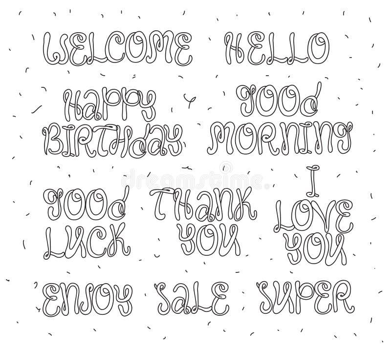 La bonne chance, apprécient, joyeux anniversaire Ensemble de calligraphie moderne et d'éléments tirés par la main Concept typogra illustration stock