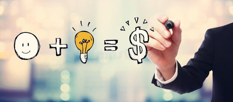 La bonne idée égale l'argent avec l'homme d'affaires illustration stock