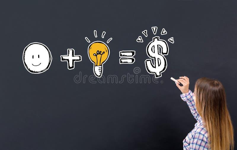 La bonne idée égale l'argent avec la jeune femme illustration libre de droits