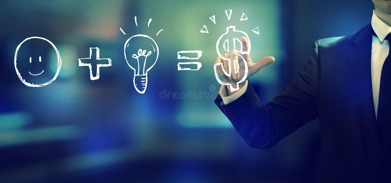 La bonne idée égale l'argent avec un homme d'affaires illustration stock