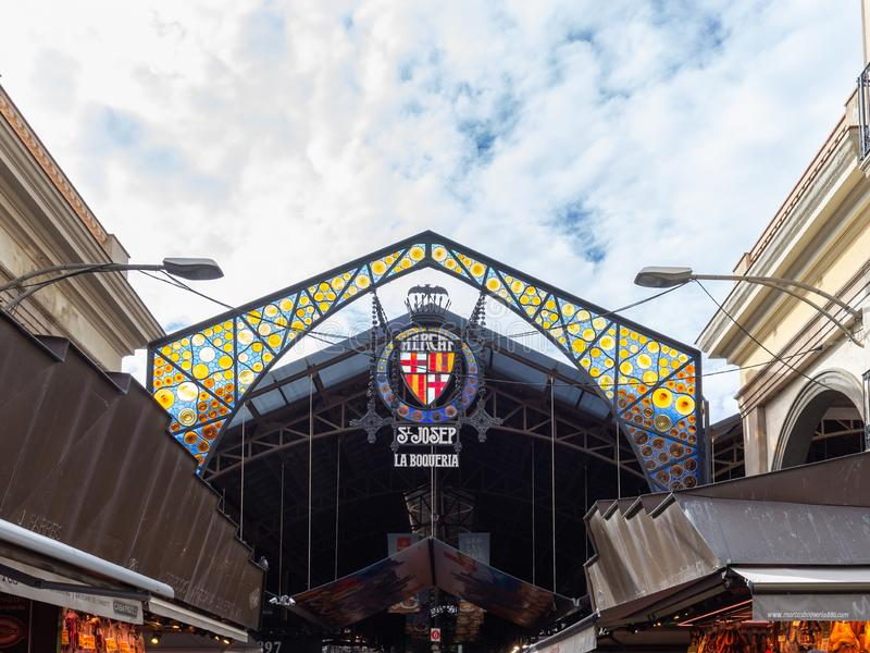 La Boqueria, detail of the colourful main entrance to the famous city market in Barcelona stock photos