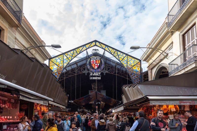 La Boqueria, Detail des bunten Haupteingangs zum berühmten Stadtmarkt in Barcelona stockbilder