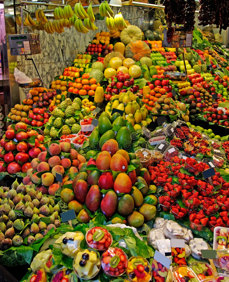 La Boqueria market Barcelona Spain fruit fruits stand stall vegetable grocer supermarket food fresh shop grocery farm store stock photos