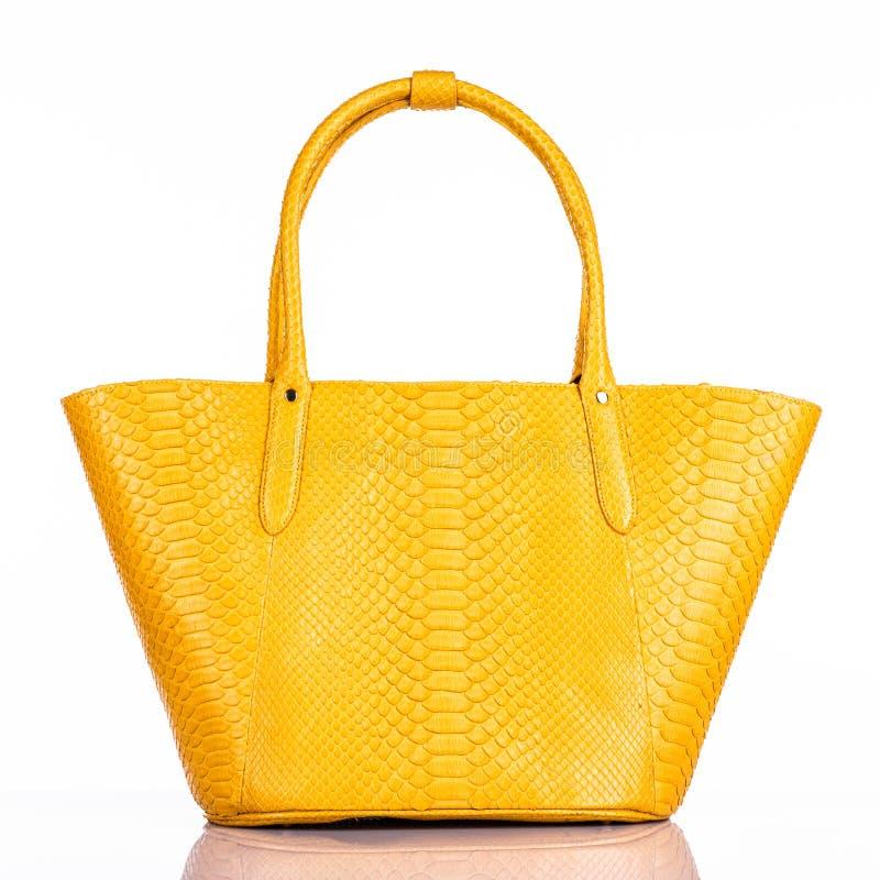 La borsa alla moda della donna alla moda isolata su fondo bianco fotografie stock libere da diritti