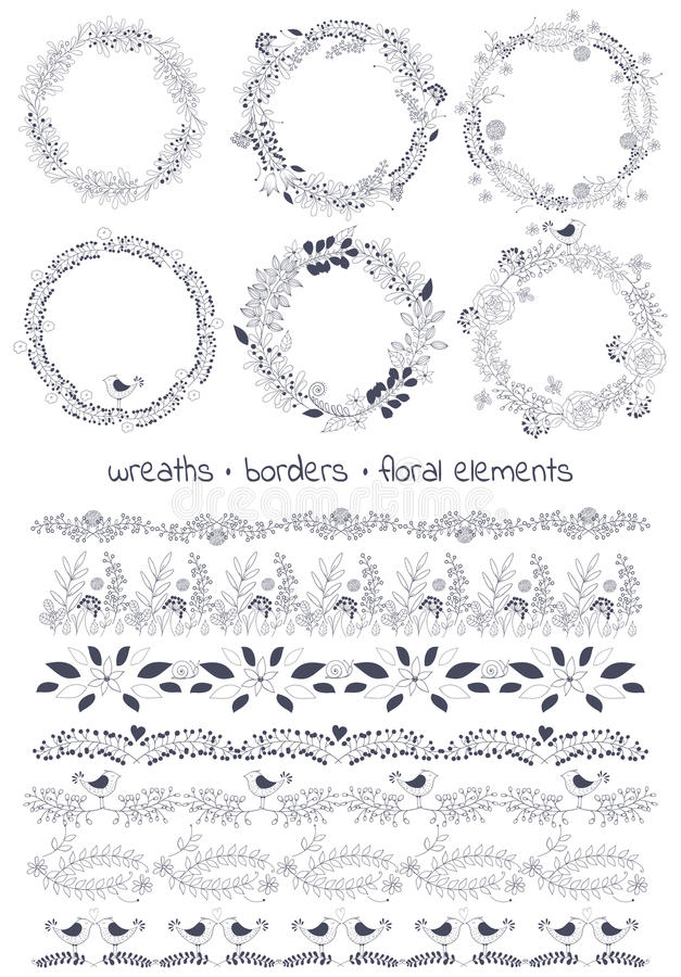 La borsa degli arnesi di progettazione di vettore include: 6wreaths, 7borders e diversi elementi floreali illustrazione vettoriale