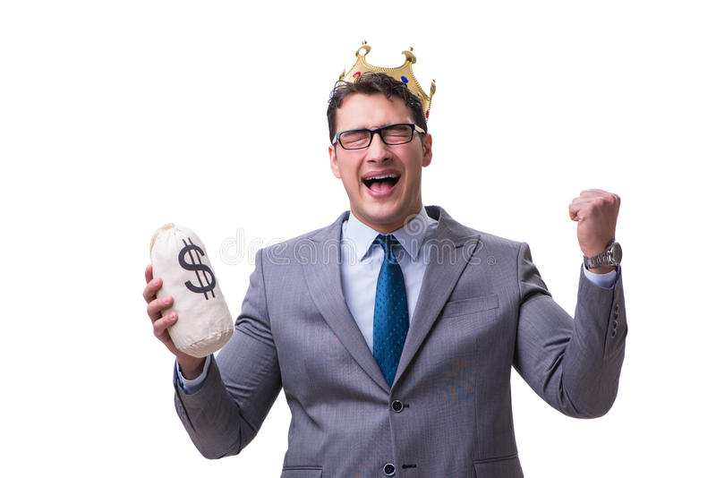 La borsa dei soldi della tenuta dell'uomo d'affari di re isolata su fondo bianco fotografie stock libere da diritti