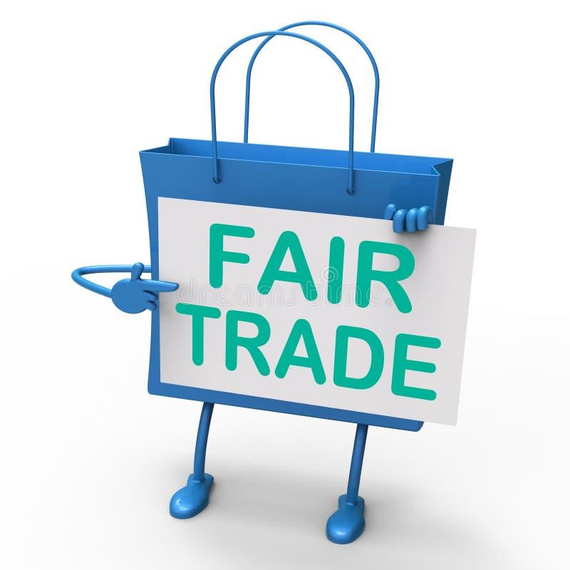 La borsa del commercio equo e solidale rappresenta gli affari e lo scambio uguali illustrazione vettoriale