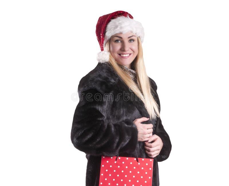 La borsa del regalo della pelliccia di Claus del cappello della donna ha isolato l'inverno, festa immagini stock libere da diritti