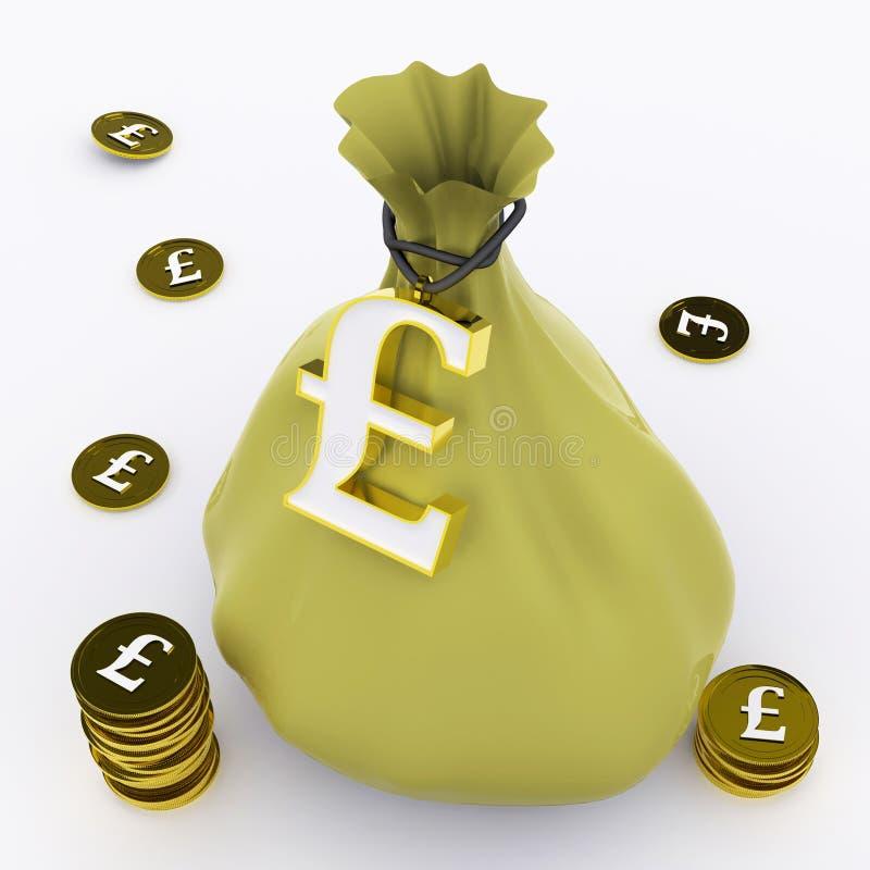 La borsa della libbra significa la ricchezza britannica ed i soldi illustrazione vettoriale
