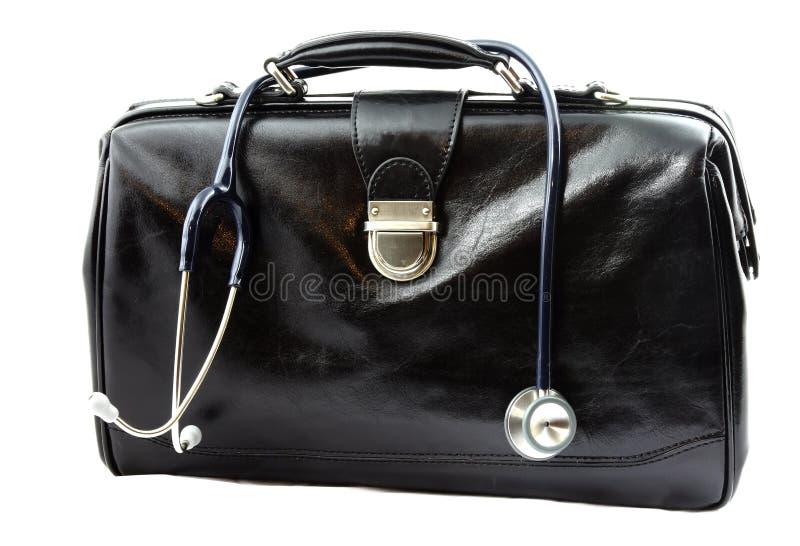 La borsa di medico con lo stetoscopio fotografie stock