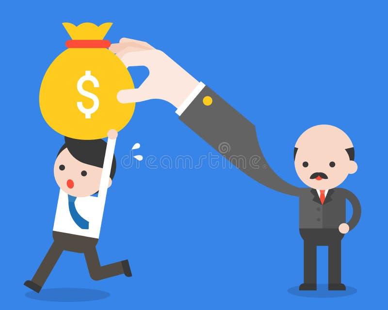 La borsa di trasporto dei soldi dell'uomo d'affari funziona a partire dal suo capo, azienda illustrazione vettoriale