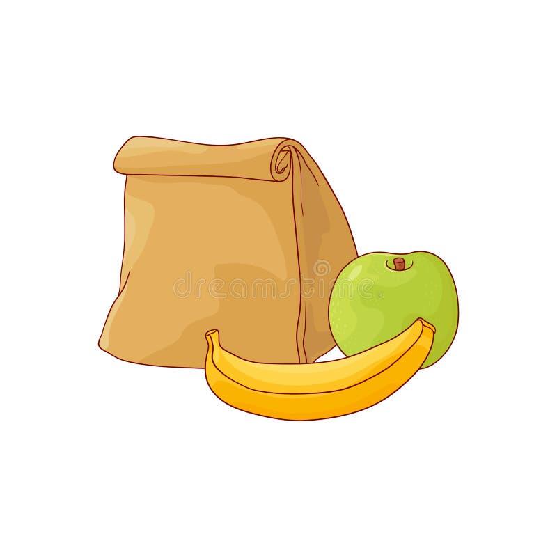 La borsa e la mela di carta del pranzo con la banana per irrompono lo stile di schizzo isolata su fondo bianco illustrazione vettoriale