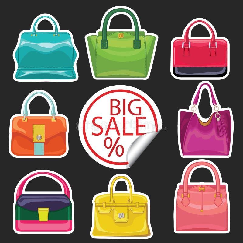 La borsa multicolore delle donne di modo Grande vendita illustrazione di stock