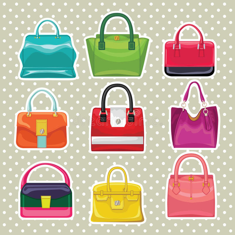 La borsa multicolore delle donne di modo Grande vendita royalty illustrazione gratis