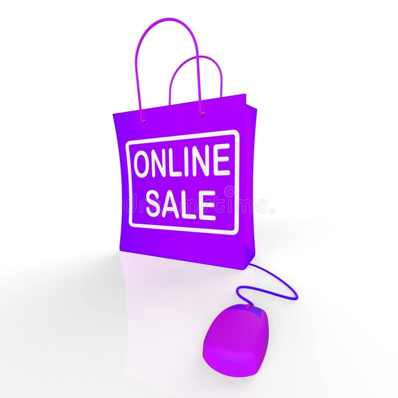 La borsa online di vendita rappresenta le vendite e gli sconti di Internet royalty illustrazione gratis
