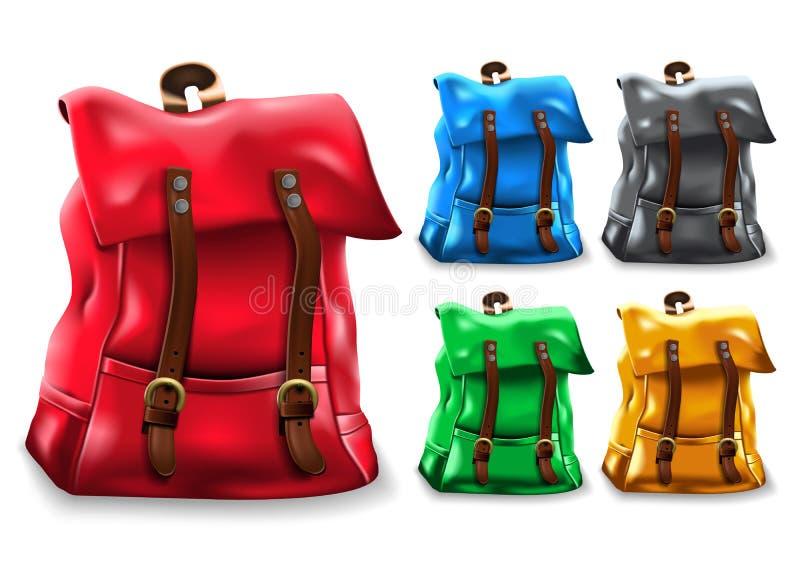 La borsa realistica dello zaino 3D ha fissato la progettazione con differenti variazioni di colore come rosso, blu illustrazione vettoriale