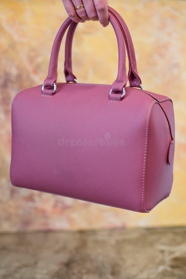 La borsa rosa del ` s delle donne a disposizione, signore insacca, frizione femminile di rosa, frizione rosa Borsa del ` s delle  fotografie stock libere da diritti