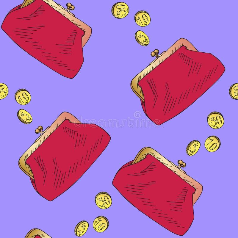 La borsa rossa con le monete dorate versa in, lo schizzo disegnato a mano di scarabocchio, progettazione senza cuciture del model royalty illustrazione gratis