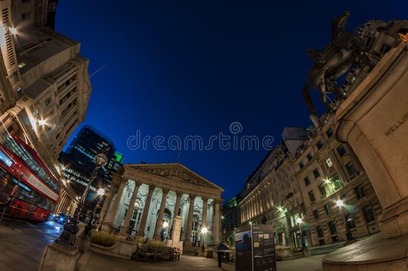 La borsa valori reale, città di Londra, Inghilterra fotografia stock libera da diritti