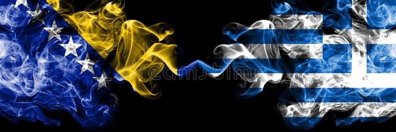 La Bosnie-Herz?govine, bosnienne, Gr?ce, grecque, drapeaux fumeux color?s ?pais de concurrence de secousse Qualifications europ?e photos stock