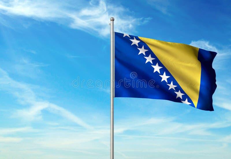 La Bosnie-Herzégovine marquent l'ondulation avec le ciel sur l'illustration 3d réaliste de fond illustration libre de droits