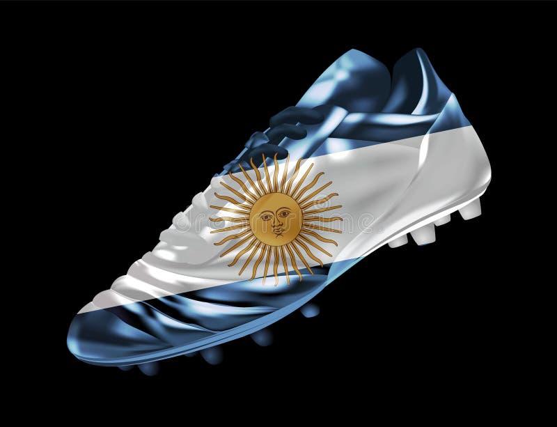 La bota del fútbol del fútbol con la bandera de la Argentina imprimió en ella stock de ilustración