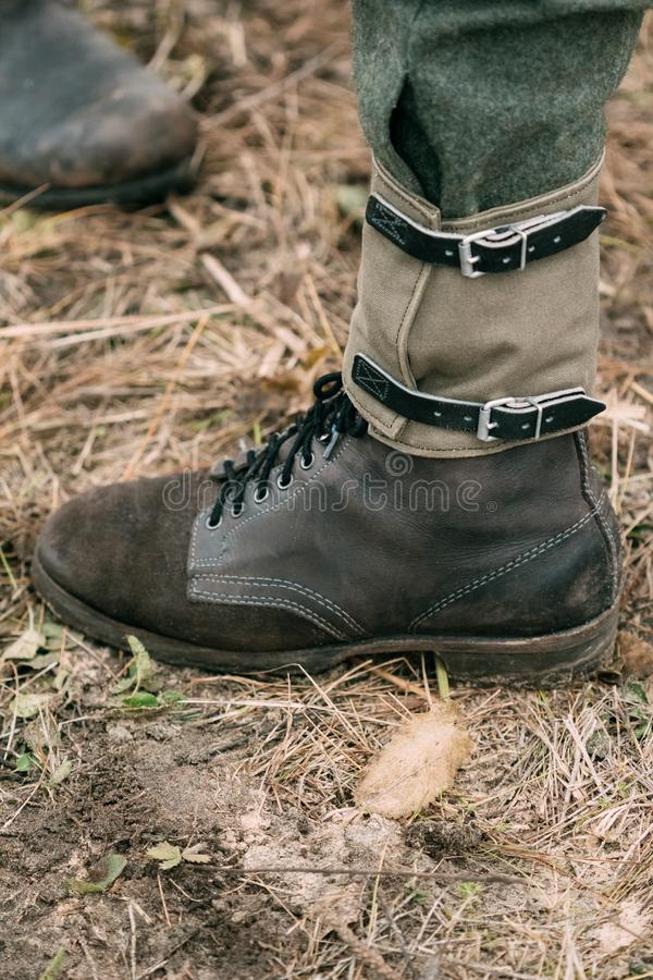 La bota del soldado de una Segunda Guerra Mundial alemana del soldado imagen de archivo