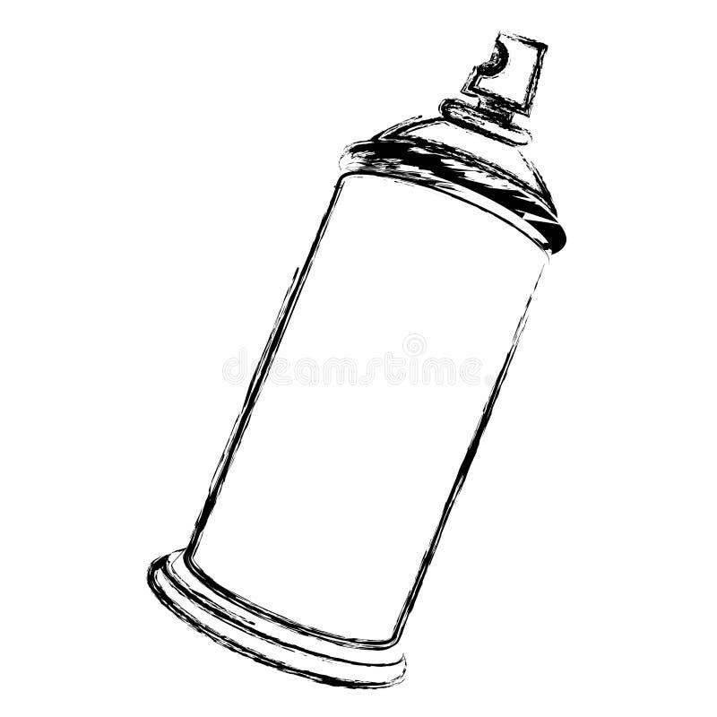 la botella borrosa del espray de aerosol de la silueta de la vista lateral puede icono stock de ilustración