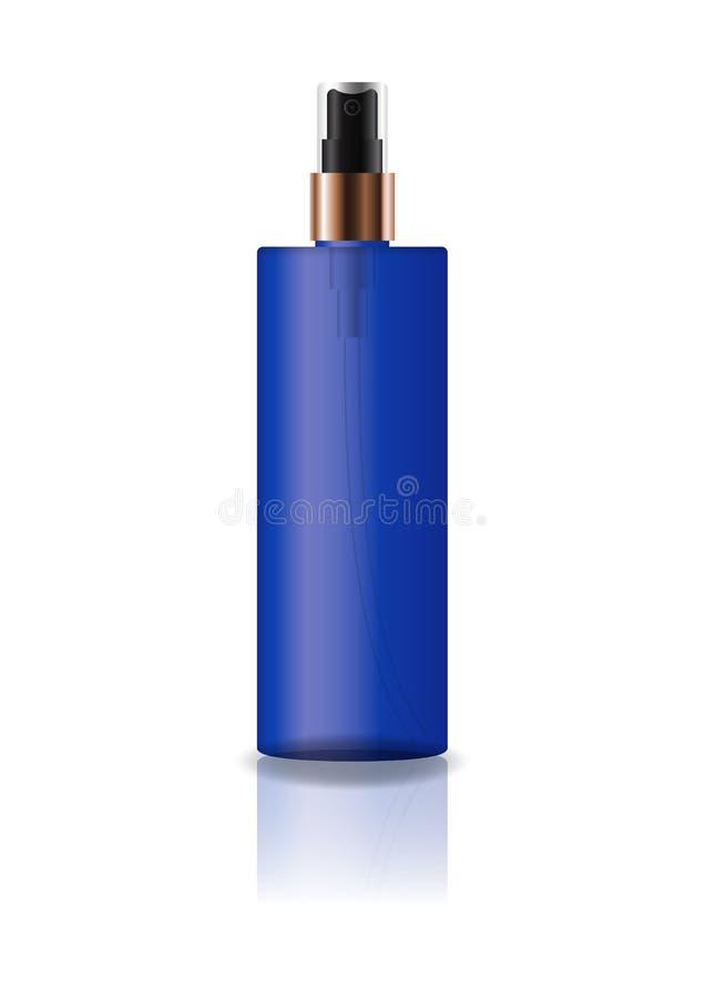 La botella cosmética azul del cilindro del espacio en blanco con el espray presionado va a belleza o el producto sano foto de archivo