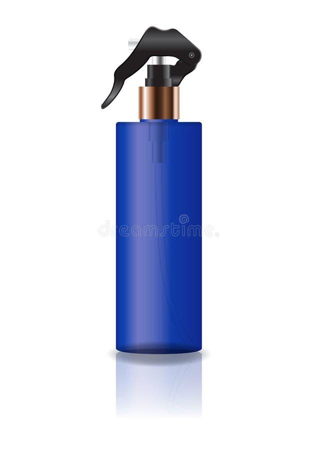 La botella cosmética azul del cilindro del espacio en blanco con el espray va a belleza o el producto sano fotos de archivo libres de regalías
